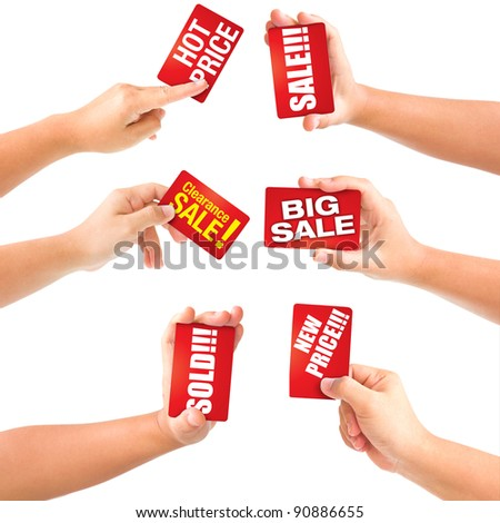 Set of hand holding business card sale with discounts. isolated on white. With Save path for Change the background