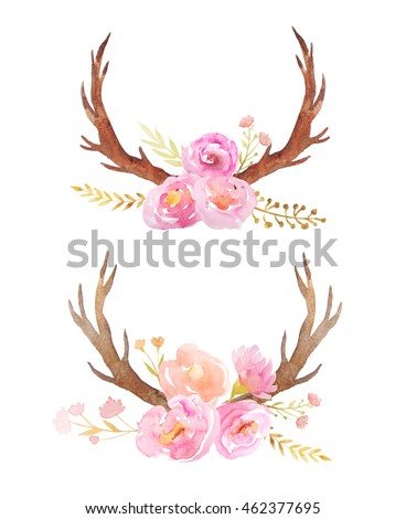 Set Of Hand Painted Watercolor Flowers Branch And Antlers In Rustic Style Boho