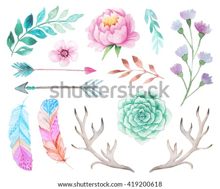 Set of hand painted watercolor flowers, feathers, antlers and arrows in bohemian style. Boho rustic composition perfect for floral design projects