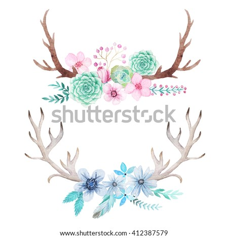 Set of hand painted watercolor flowers, leaves, antlers and branches in rustic style. Boho rustic composition perfect for floral design projects