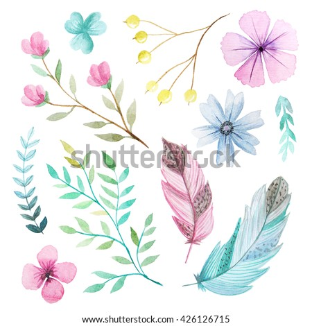 Set of hand painted watercolor flowers, leaves, feathers and branches. Isolated objects on a white background. Floral clip art perfect for card making and DIY project