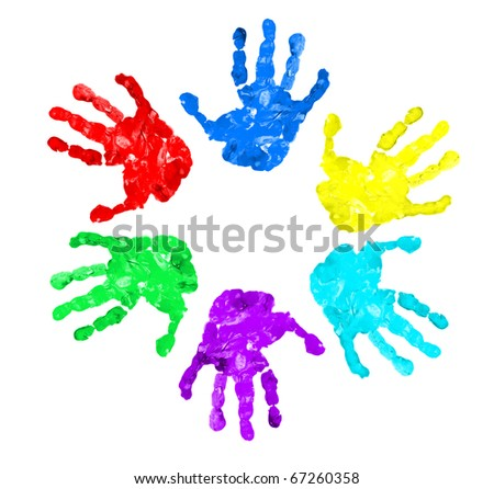 set of hand prints of different colors - stock photo