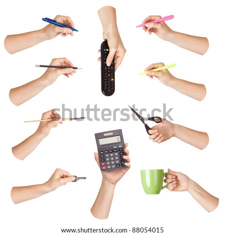 Set of hand with office tool, isolated
