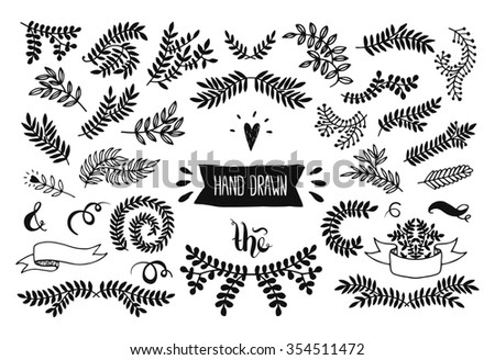 Set of handdrawn set, floral doodle collection. Decoration elements for design invitation, wedding cards, valentines day, greeting cards