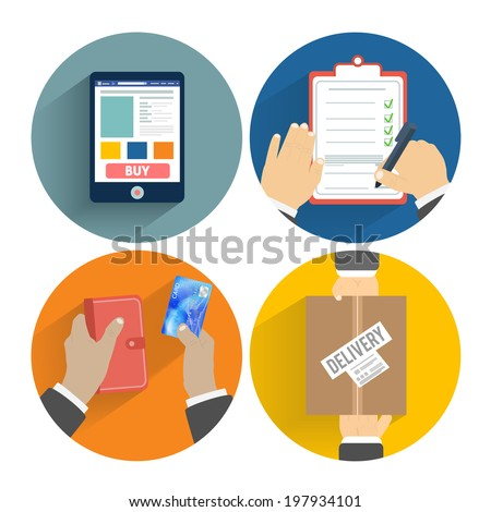 Set of hands clients purchasing. Order of the goods online, payment and delivery. Business concept. Raster version