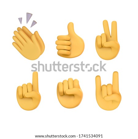 Set of hands gesture icons and symbols. Emoji hand icons. Different gestures, hands, signals and signs, 3d illustration. character yellow hands collection. Rating feedback symbols.  Claps, victory
