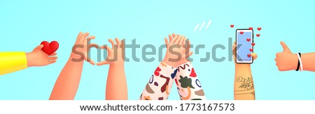 Set of hands holding phone, giving likes, thumb up, heart shape gesture, clapping. 3d render  illustration in cute cartoon style, isolated on background