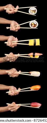 Set of 7 hands holding various types of sushi with chopsticks isolated on a black background.