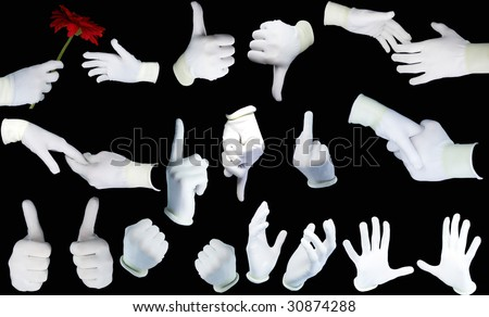 Set of hands in white gloves on a black background