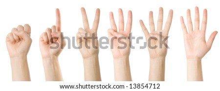 Set of hands making the numbers from 0 to 5