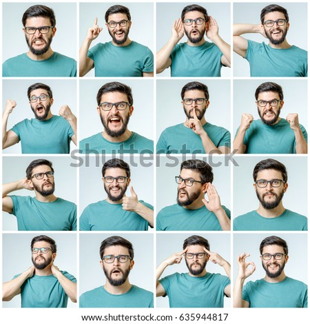 Set of handsome emotional man isolated over gray background #635944817