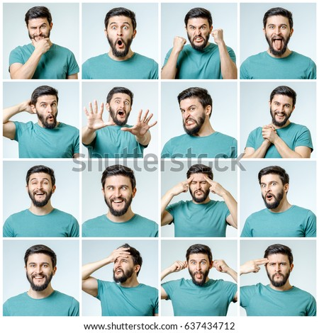 Set of handsome emotional man isolated over gray background #637434712