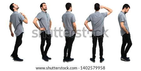 Set of Handsome man in back position, and lateral position