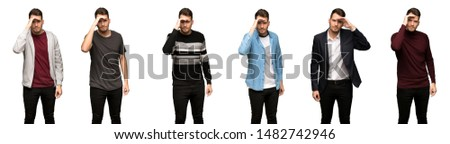 set of handsome man looking far away with hand to look something