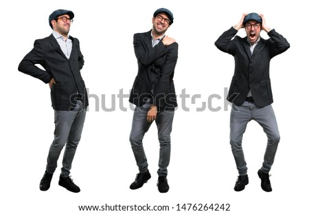 Set of Handsome modern man with beret and glasses with shoulder pain backache and headache