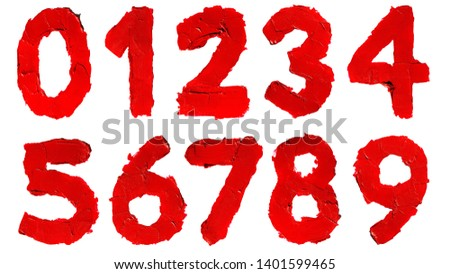 Set of handwritten numbers made of smudged red lipstick isolated on white background. Digit 0, 1, 2, 3, 4, 5, 6, 7, 8, 9, Number zero / null, one, two, three, four, five, six, seven, eight, nine