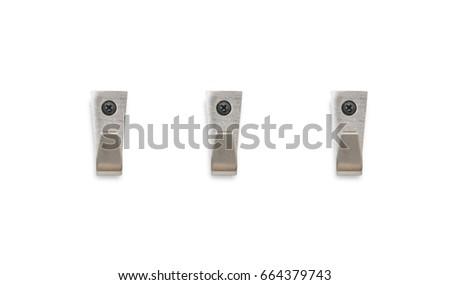 Shutterstock Set of hanger of steel hook wall on white background.