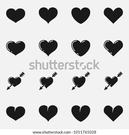 Set of heart shapes flat  icons.