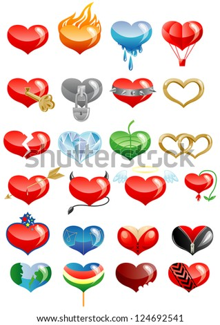 Set of hearts icon by day of ST. Valentine