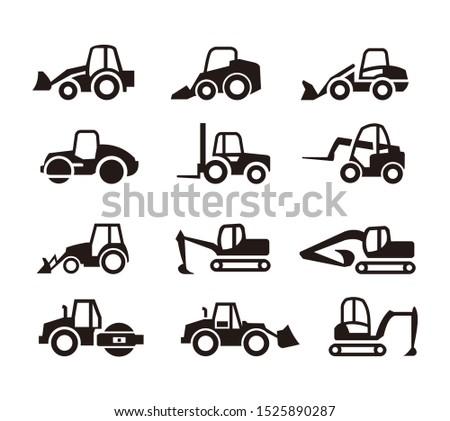 set of heavy equipment icon