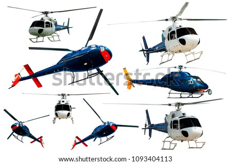 Set of helicopters in motion isolated on white background