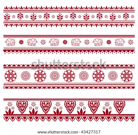 Set of henna painting inspired seamless border patterns, also available in vector