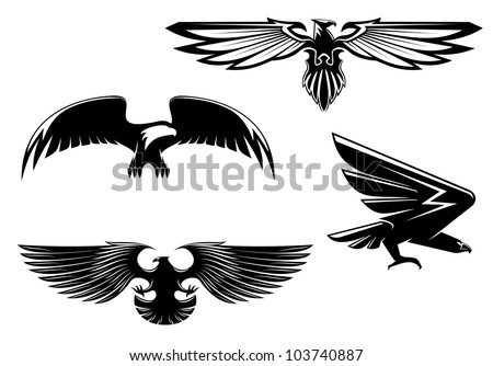 Set of heraldry eagles, hawks and falcons for tattoo or mascot design, such logo. Vector version also available in gallery