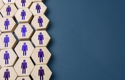 Set of hexagonal figures of people. Formation of company personnel, staffing. Hiring new employees and recruiting staff. Unity. Team discipline, teamwork cooperation. Personnel management
