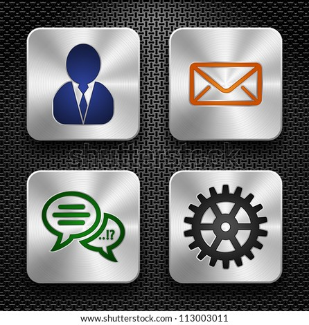 Set of high-detailed apps icons over metallic texture