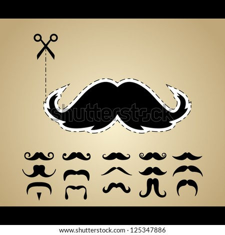set of hipster mustache. bitmap version