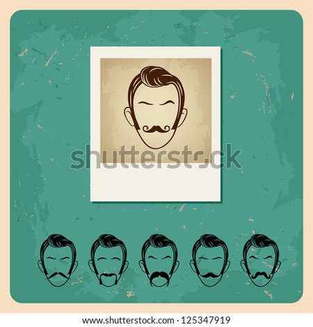 set of hipster mustache. bitmap version - stock photo