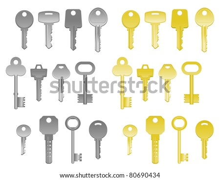 Set of house keys isolated on white. Vector version also available in gallery