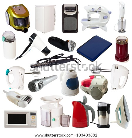 Set of  household appliances. Isolated on white background with clipping path