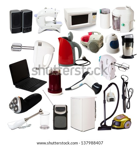 Set of  household appliances. Isolated on white background with shade