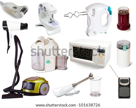 Set of  household appliances. Isolated on white background with shadows