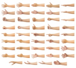 Set of human hand in multiple gesture isolate on white background with clipping path, Low contrast for retouch or graphic design