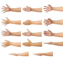 Set of human hand in reach out one's hand and showing 5 fingers gesture isolate on white background with clipping path, Low contrast for retouch or graphic design