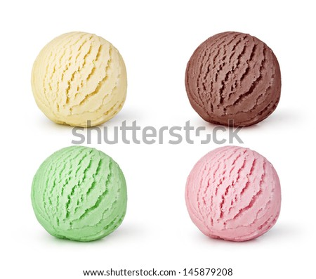 set of ice cream on white background