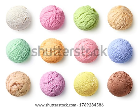 Set of ice cream scoops of different colors and flavours isolated on white background, top view Сток-фото ©