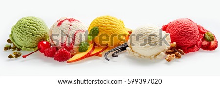 Set of ice cream scoops of different colors and flavours with berries, nuts and fruits decoration isolated on white background #599397020
