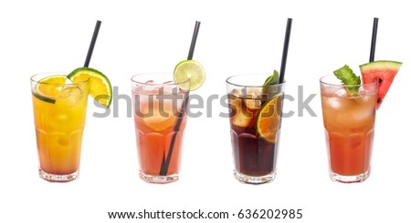 Shutterstock Set of iced cocktails: with watermelon, orange, lime decoration.