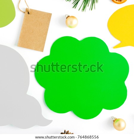 Set of Icon thoughts with branch of Christmas tree, price tag, cones, dry orange and Christmas balls on white background, top view. Flat lay christmas background #764868556