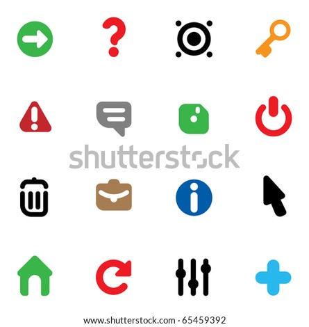 Set of icons for computer program interface and website design. Raster version. For vector version of this image, see my portfolio.