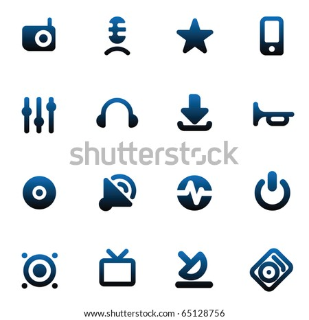 Set of icons for music and sound. Raster version. For vector version of this image, see my portfolio.