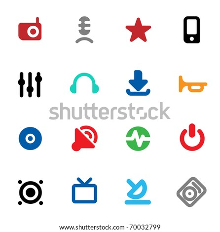 Set of icons for music and sound. Raster version. Vector version is also available.
