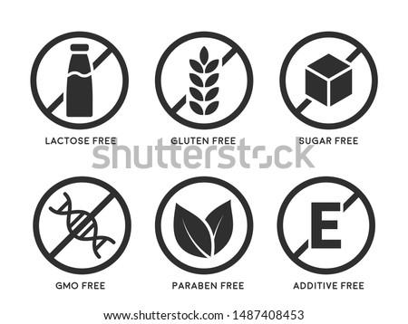 Set of icons Gluten Free, Lactose Free, GMO Free, Paraben, Food additive, Sugar free.