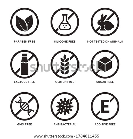 Set of icons Gluten Free, Lactose Free, GMO Free, Paraben, Food additive, Sugar free, Not Tested on Animals, Antibacterial, Silicone icons