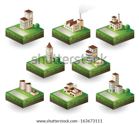 Set of  icons isometric to the city theme