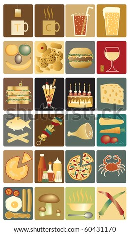 Set of icons of drinks and snacks