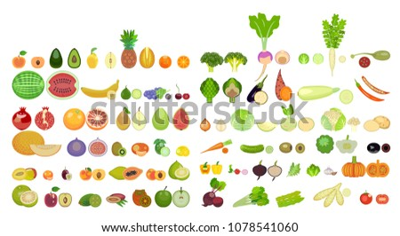 set of icons of fruits and vegetables of different species are whole and in section. Set of cartoon icons isolated on white background. Colorful design for cards, banners, printed materials. #1078541060